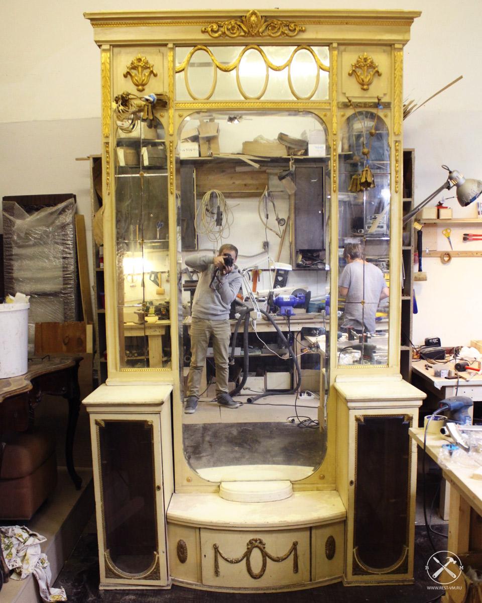 реставрация зеркала в медной раме